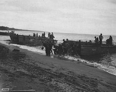 US troops land on Guadalcanal, in the Solomon Islands group. Guadalcanal was the focus of crucial battles in 1942–1943. American victory in the Solomons halted the Japanese advance in the South Pacific. Guadalcanal, August 1942.