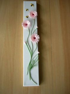 Fringed flowers on canvas - Quilled Creations Quilling Gallery