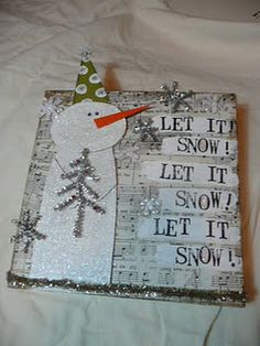 Music Paper Snowman Card...with silver flakes & tree.