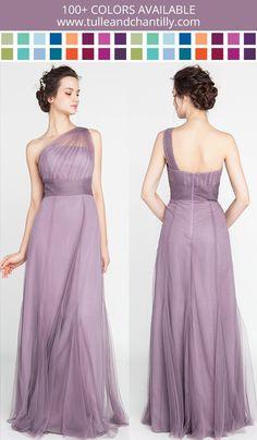Elegant Long Tulle Illusion One Shoulder Bridesmaid Dress #weddinginspiration #bridesmaiddress #purpledress