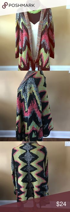 Warm Sweater Poncho Acrylic knit cardigan style poncho • warm fall and winter colors • Excellent condition barely worn • Smoke/Pet free home • Size M/L Hot & Delicious Sweaters Shrugs & Ponchos