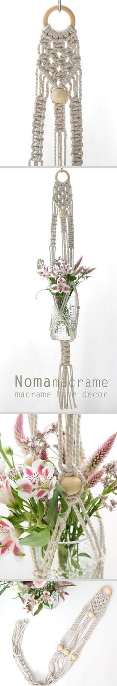 Macrame Plant Hanger is a perfect way to add some green in your home. this macrame holder has a very clean look and will give the room warm feeling. this modern macrame gives your room aretro feeling, you can hang it in your badroom,living room or any other room. This plant holder made of cotton cord and natural wood beads. ^^^^^^^^ The dimensions of the plant hanger (including loop): 75cm 30 inches ^^^^^^^^ To see more macrame plant hanger: https://www.etsy.com/il-en/s...