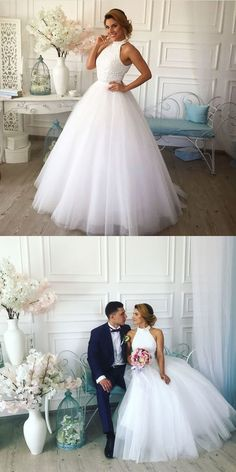 HIgh Neck Beads White Long Prom Dress vp7561 by VestidosProm, $157.30 USD Gold Prom Dresses, Party Dresses For Women, Formal Evening Dresses, Homecoming Dresses, Wedding Wear, Wedding Gowns, Dress Alterations, Beautiful Dresses, Ball Gowns