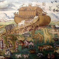 @mag.gieshep.herd  Painting of the animals and the ark, a fresco in San Maurizio al Monastero Maggiore, Milan by Italian artist Aurelio Luini 1530-1593 #ark #animals #boat #species #painting #naive #art #gallery #birds #wildlife #natural #nature #biology #biological #biblical #study #deluge #illustration #elephants #camels #pair #couples #giraffes #dogs #avian #living #haven #safety #eco #ecology