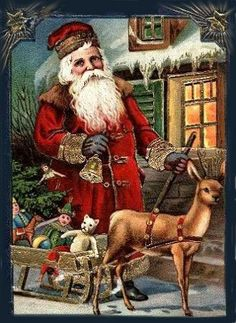 Vintage Christmas postcard featuring Santa Claus and a reindeer