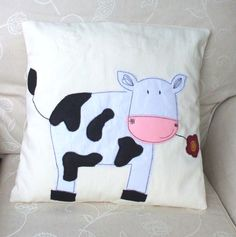 Cushion Cover Nursery in Happy Cow  Design 14 x 14 by Illustrarti, $25.00