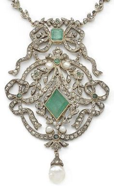 An antique emerald, pearl and diamond necklace, circa 1900. Designed as a series of leaf and flowerhead motifs set with rose-cut diamonds and step-cut emeralds, suspending irregularly shaped pearls, to a detachable openwork pendant of ribbon bow and garland design, centrally-set with a step-cut emerald, highlighted by similarly-cut diamonds, pearls, circular and step-cut emeralds, suspending a pearl drop, millegrain detail throughout.