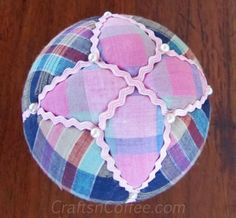 How to make a tucked, fabric star on a fabric Easter Egg. CraftsnCoffee.com.