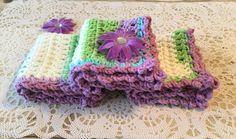 Crochet Washcloth Crochet Dishcloth Blue by CraftCreationsbyRose