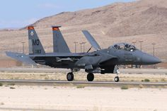 F-15E 87-0183 from the 489FS 'Thunderbolt' Mountain Home AFB, Idaho captured during landing for Red Flag 15-3 in July 2015 on Nellis AFB Nevada