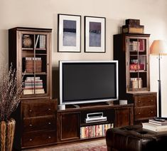 Pottery Barn LOGAN MEDIA SUITE WITH TOWERS in Mahogany Stain and Antique White