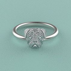 PUG Breed Jewelry Puppy Face Rin #pug Breed Jewelry Puppy Face Ring