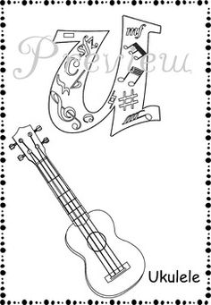 guitar Coloring Pages Acoustic Guitar B E A UUU Tiful