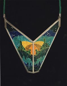 Necklace of silver and cloisonné enamel and associated original art work, sketches and artist's commentary, created as a diploma piece by Maureen Edgar, Edinburgh, 1976