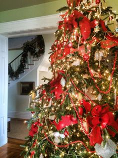The red bows really set the big tree off this year! If you squint the bows resemble poinsettia blooms on the tree.