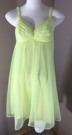 d3b5f1a76c9 Vintage 1960 s Van Raalte Lime Green Sheer Nylon Mini Nightie Padded Bra  (238)  VanRaalte