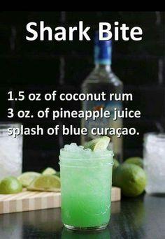 Shark oz coconut rum, 3 ozpineapple juice, and a splash of blue curaçao. - Vegan New Recipes alcohol recipes Shark oz coconut rum, 3 ozpineapple juice, and a splash of blue curaçao. Liquor Drinks, Cocktail Drinks, Alcoholic Beverages, Alcholic Drinks, Halloween Alcoholic Drinks, Refreshing Drinks, Yummy Drinks, Yummy Shots, Alcohol Drink Recipes