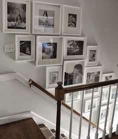 Staircase wall is often a cold corner overlooked by homeowners. But with a little creativity, your staircase wall can be transformed from an ignored area to an attractive focal point. The staircase wall is just like a blank canvas and you can displa Gallery Wall Staircase, Grand Staircase, Staircase Ideas, Picture Wall Staircase, Picture Frames On The Wall Stairs, Stair Gallery, Ideas For Stairway Walls, Staircase Frames, Staircase Decoration
