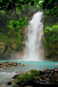 Catarata de Rio Celeste from river, Parque Nacional Tenorio, Costa Rica.