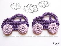 ♥ Zwei lila Autos - Häkelapplikation ♥ - picture for you Crochet Car, Diy Crafts Crochet, Crochet Baby Toys, Cute Crochet, Crochet For Kids, Crochet Projects, Crochet Pattern Central, Crochet Blanket Patterns, Crochet Motif