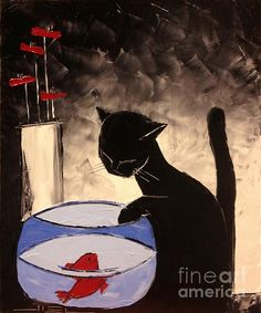 Goldfish With His Black Cat Friend by Atelier De Jiel