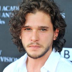 Kit Harington is a curly dude who plays Jon Snow in The Games of Thrones. Below are pictures of Kit Harington curly hair. He usually wears his curls at a medium length to long length, and according to John Snow, Pretty People, Beautiful People, My Champion, My Sun And Stars, Gorgeous Men, Hello Gorgeous, Celebrity Crush, Sexy Men