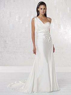 Satin One-shoulder Modified Sweetheart Neckline A-line Wedding Dress