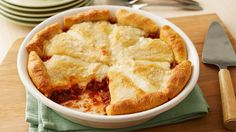 Zesty Italian Crescent Casserole Here's a casserole classic! The beefy, cheesy filling is topped with flaky crescents.