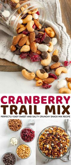 Cranberry Trail Mix is the perfect sweet and salty, crunchy snack mix made with dried cranberries, dark chocolate, yogurt-covered raisins, and nuts. Cranberry Fruit, Trail Mix Recipes, Snack Mix Recipes, Raw Almonds, Roasted Almonds, Easy Snacks, Yummy Snacks, Yogurt Covered Raisins