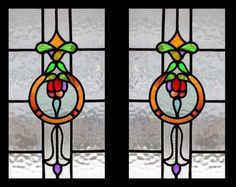 RARE PAIR EDWARDIAN FLORAL SWAG STAINED GLASS WINDOWS