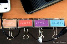 Learn how to make a cord organizer to keep your desk clutter-free! Printable labels and binder clips make it easy to manage your devices.