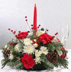 christmas flower arrangements | Christmas Flowers, Table Centerpiece Arrangements and Gift Baskets