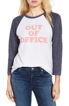 Free shipping and returns on Sub_Urban Riot 'Out of Office' Graphic Baseball Tee…
