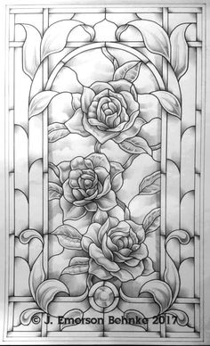 A pattern for stained glass. Build to 14 × Customers receive 2 full size paper prints via USPSClimbing Roses. A pattern for stained glass. Build to 14 × Customers receive 2 full size paper prints via USPS Stained Glass Patterns Free, Stained Glass Designs, Stained Glass Flowers, Stained Glass Art, L'art Du Vitrail, Glass Painting Designs, Glass Painting Patterns, Printable Adult Coloring Pages, Flower Coloring Pages