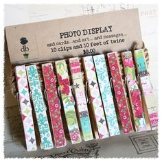 Card, Art, Message, Photo Display- Hand finished clothespins Garden. $9.00, via Etsy.
