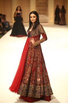 #bridal #anarkali #indian #outfit #red #handwork