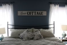 Guest room...love this theme idea but would use a light blue to make the small room I have look bigger!