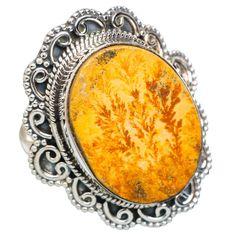 Large Germany Psilomelane Dendrite 925 Sterling Silver Ring Size 8.25 RING748769