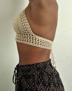 Sexy Bikini estilo del ganchillo tapa del Halter