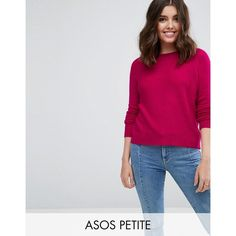ASOS PETITE Jumper In Fluffy Yarn With Crew Neck (£22) ❤ liked on Polyvore featuring tops, sweaters, petite, pink, crew neck sweaters, asos sweater, crewneck sweaters, petite tops and pink top