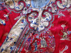 Buyer & Seller of Antique Lace, Fine Linens, Vintage Clothing, Haute Couture, Textiles, Fans: ORNATE CHINESE EMBROIDERED ROBE W/FIGURAL MEDALLIONS