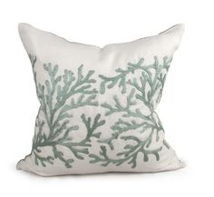 Coral pillow in blue and ivory mist. It is hand embroidered natural linen. Visit to see how this stunning pillow fits into our design. Also get great design tips. Coral Pillows, Green Pillows, Accent Pillows, Chandeliers, Oversized Throw Pillows, Pillow Inspiration, Coral Blue, Aqua, Coastal Cottage