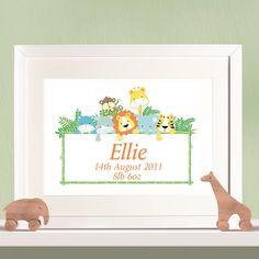 Personalised Children's Print - Jungle Animals Girls