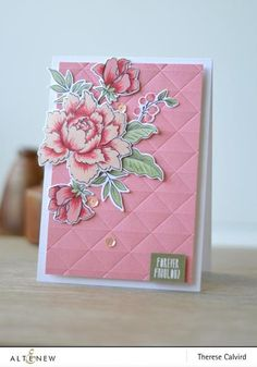 I have a jewel toned, watercolour card to share with you using Peony Bouquet Stamp Set. The April Altenew Inspiration Challenge colours are Altenew Cards, Stampin Up Cards, Card Making Inspiration, Making Ideas, Peonies Bouquet, Embossed Cards, Card Making Techniques, Flower Cards, Flower Svg