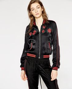 7278961fc32 Plain Silk Boyfriend Shirt - THE KOOPLES WOMAN. See more. Black embroidered  bomber jacket - Jackets WOMAN Embroidered Bomber Jacket, The Kooples,  Viscose,