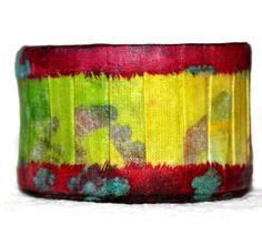 fabric cuff bracelet handmade multicolored by ThisArtOfMineUS, $37.00