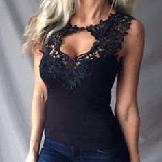 V-neck Pure Lace Cut Out Sleeveless Tank Top