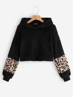 To find out about the Contrast Leopard Sleeve Teddy Hoodie at SHEIN, part of our latest Sweatshirts ready to shop online today! Cute Sweatshirts, Printed Sweatshirts, Fashion News, Fashion Outfits, Womens Fashion, Cheap Hoodies, Young Models, Winter Fashion, Sleeves