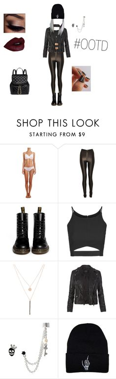 """Outfit Of The Day"" by depressedandbroken ❤ liked on Polyvore featuring Hanro, Dr. Martens, Topshop, Ali Moosally, AllSaints, Betsey Johnson, MICHAEL Michael Kors, women's clothing, women and female"