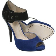 Joan & David Ozya Platform Sandals - Leather, High Heels (For Women) in Black/Blue somebody buy these they are fantastic and I can't wear heels this high